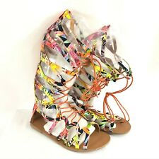 Womens Gladiator Sandals Strappy Floral Lace Up Colorful Size 40 Size 9