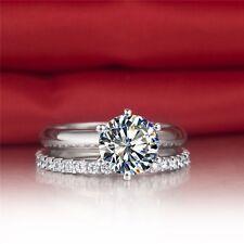 LUXURY NSCD DIAMOND WEDDING BRIDAL ENGAGEMEN 2 CARAT RING SET WHITE GOLD FINISH