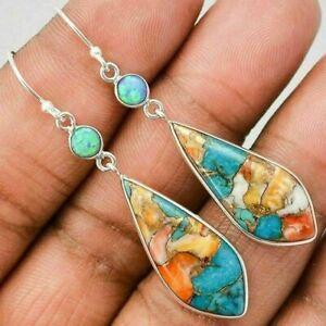 Fashion 925 Silver Dangle Drop Earrings Hook Women Turquoise  Jewelry Ear Gifts
