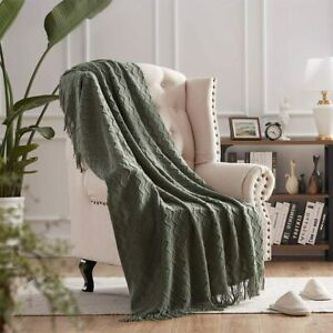Throw Blankets for Couch Green Textured Knit Blankets with Tassel Fringe Soft &