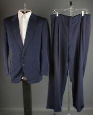Vtg Men's 1950s Navy Blue Suit Jacket M Drop Loop Pants 34x31 50s #7168
