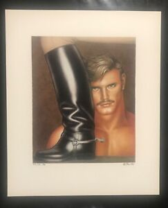 """TOM OF FINLAND 1982 Signed + numbered  'Man and his boot' Poster - 14.7"""" x 12.3"""""""