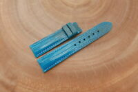 19mm/18mm Light Blue Genuine Lizard Skin Leather Watch Strap Band Handstitched