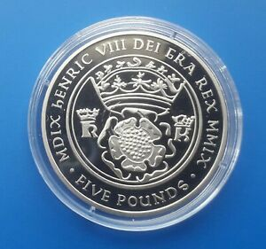 Guernsey 2009 £5 coin - King Henry VIII (uncirculated five pounds)