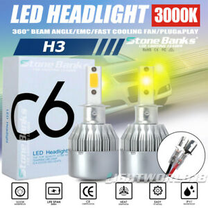 H3 LED Headlight Bulb Hi Low Beam Foglight 3000K Golden Yellow 100W 20000LM DRL