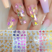 3D Nail Stickers Colorful Butterfly Transfer Decals Nail Art Decoration Paper