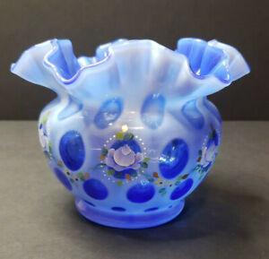 Fenton Cobalt Overlay Coin Dot vase Museum Collection 2004