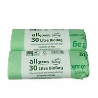 All-Green 30 Litre Biobag Compostable Kerbside Caddy Bin Liners, Pack of 20