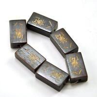 6 x Vintage Oriental Bone Carved Loose Bead Disc Hand Carved Majohn Mahjong Tile