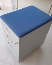 Formway Free Satin Silver 3 Drawer classic storage mobile w lock Blue Visitor St