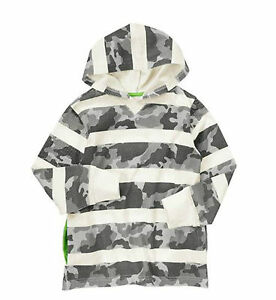 New Crazy 8 Boys Gray Ivory Camouflage Pocketed Cotton Pullover Hoodies 5 6