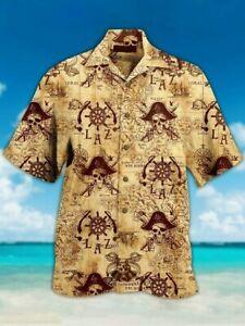 Pirate Hawaiian Shirt Pirate Skull Treasure map Hawaii Shirt