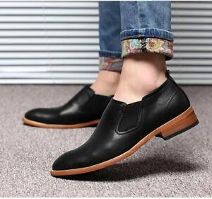 Men's Slip On Loafers Summer Pumps Casual Flats Heels Pointy Toe Dress Shoes