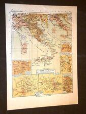 Carta cartina estratta da Atlante del 1890 L'Italia dal 1815 al 1860 Solferino