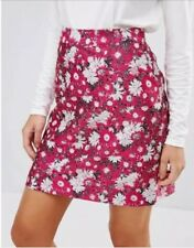 ASOS Warehouse Label Pink Daisy Skirt Size 8 10 High Rise Waist Hand Pockets