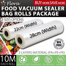 Flora Food Vacuum Sealer bag rolls Storage Saver Seal rolls 10M 22cm & 28cm ORG