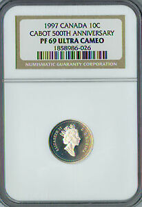 1997 CANADA SILVER 10 CENTS CABOT 500 ANN. NGC PF-69 UCAM FINEST GRADE .