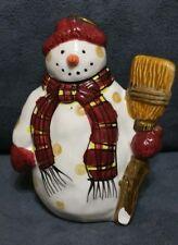 "DEBBIE MUMM 4"" EARTHENWARE SNOWMAN ORNAMENT HAND-PAINTED SAKURA"