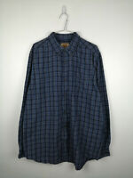 Vintage Mens Flannel Shirt Foundry Size LT Blue Check Long Sleeve 100% Cotton US