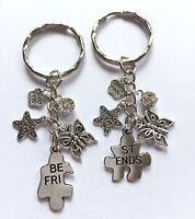 2 x Best Friend Keyring - Gift Charm Star Butterfly Handmade Friendship BFF Mate