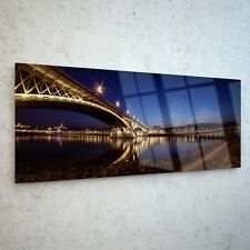 Wall Art Glass Print Canvas Picture Large Painting Bridge Night p62262 125x50cm