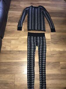 Ladies Size L Sweaty Beaty Ski Base Underlay Thermal Set Leggings And Top Used