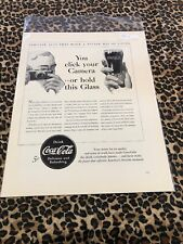COCA COLA Ad Advertisement VINTAGE 1940 YOU CLICK YOUR CAMERA OR HOLD GLASS c396