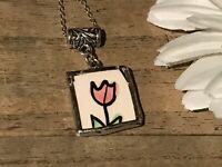 Recycled Broken Porcelain Jewelry, Pink Floral Pendant