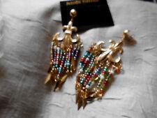 Fashion Ohrringe  gold  farben Perlchen bunt  hängend   Neu  8,5 cm