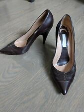 Pollini Brown Leather High Heels Point Size 38.5/8