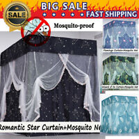 Anti-glar Lightproof Four Corner Bed Curtain Canopy +Mosquito Net+Bed Frame Post