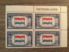 US Scott #913 NETHERLANDS Overrun Nations Plate Block, MNH/OG