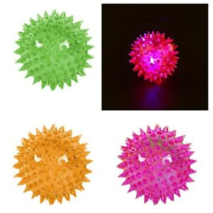 1 x Light-Up Spikey LED Ball Dog / Cat Flashing Sensory Fun Teeth Ball,  0059