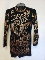 INC Womens Dress Size S Black Gold Velvet Sequin