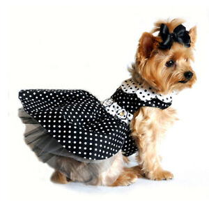 Doggie Design Black and White Polka Dot Dog Dress & Matching Leash