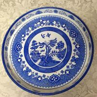 Vintage, Rare, Blue Willow, 12in x 1.5in Blue Willow Tin Serving Tray