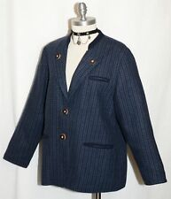 BLUE PLAID WOOL JACKET Austria Women Sport Riding Hunt Blazer Coat 40 12 M B42""