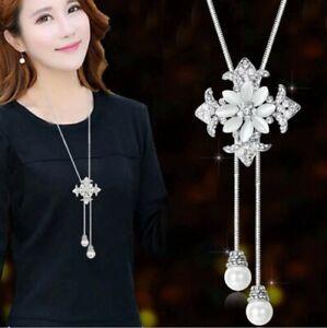Women Long Silver Tassel Pearl Flower Pendant Necklace Chain Sweater Jewelry SC