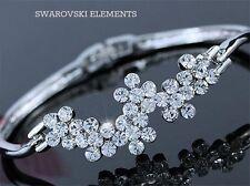 gourmette jonc Bracelet  plaqué or blanc Swarovski® Elements fleurs zirconium