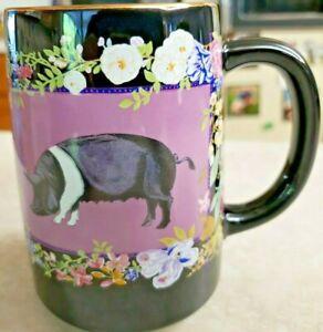 Sow Swine Pig Coffee Mug Black With Flowers 15 Ounce Japan Vintage Otagiri