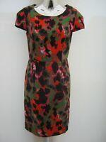 NEXT Lined Printed Short Sleeved Knee Length Linen Blend Dress Size 12