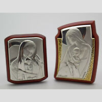 2 x Vintage Sterling Silver 925 Lamina (Sheet) Italian Made Wooden Sacred Icons