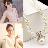 Fashion Crystal Choker Pendant Chunky Pearl Statement Bib Necklace Chain Jewelry