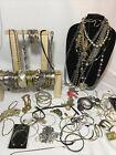 Gold Silver Tone Beaded Jewelry Lot Necklace Bracelet Earrings Chain