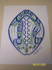 "Seattle Seahawks Native-American ""12""  logo artwork/8.5X11 inch size/"