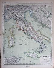 1892 MAP ~ ITALIA ITALY SARDINIA CORSICA GALLIA TRURIA SICILIA LUCANIA