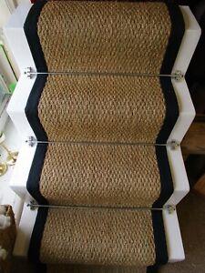 60cm Wide Natural Basketweave Seagrass Stair Runner Black Herringbone Border
