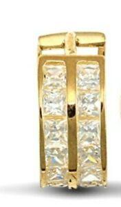 9ct Gold Men's Single Huggie Hoop CZ Set Earring - UK Jewellers