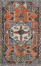 Vintage Geometric Anatolian Turkish Area Rug Tribal Handmade Oriental Carpet 4x5