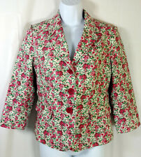 Talbots Petites Blazer Size 8P Pink Rose Floral Cotton Blend Jacket Lined